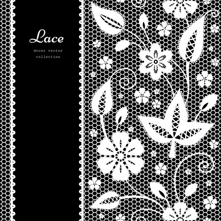 Floral lace background with white lacy border ornament on black Vector