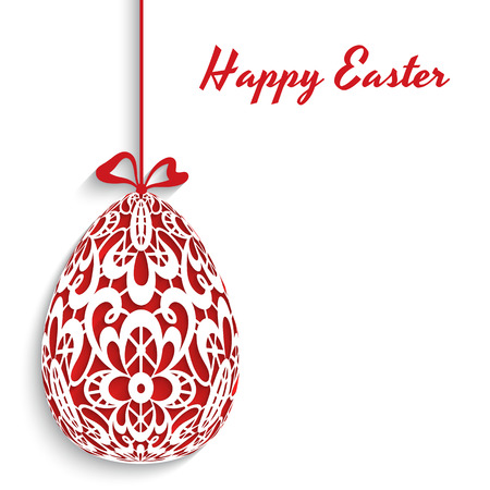 Easter egg decoration with lace ornament on white background Vector
