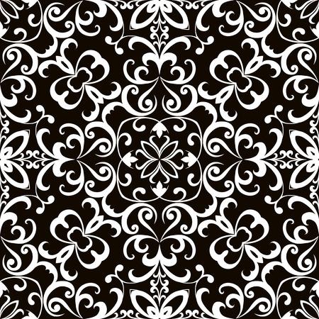 abstract swirls: Black and white swirly ornament, seamless pattern