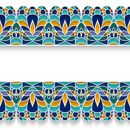Mosaic background with border ornament of ceramic tiles, colorful majolica decoration on white