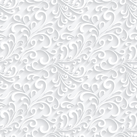 Abstract paper swirls on white, seamless pattern Ilustração