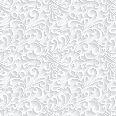 Abstract paper swirls on white, seamless pattern Illustration