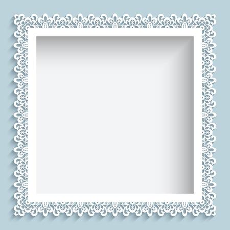 cuadrados: Marco cuadrado con remolinos de papel, fondo del cordón ornamental Vectores