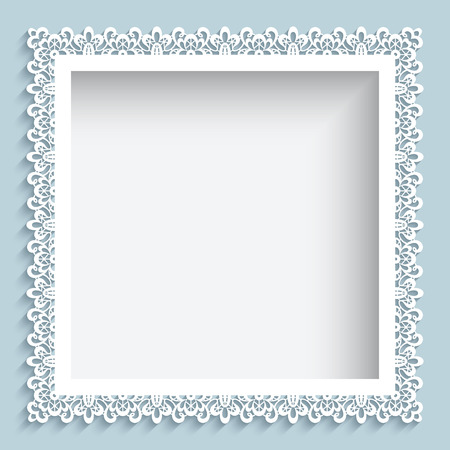 lace frame: Square frame with paper swirls, ornamental lace background