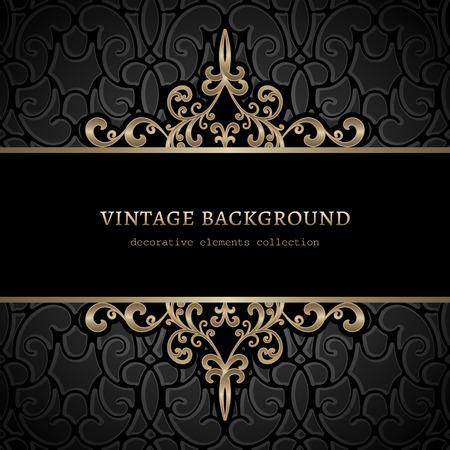 ornamental elements: Vintage gold background, divider, header, ornamental frame Illustration