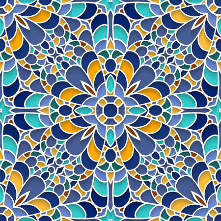 majolica: Abstract mosaic background, ceramic tiles, majolica, seamless pattern Illustration