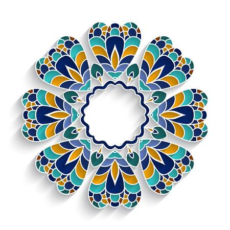 majolica: Mosaic circle ornament, ceramic tiles, colorful majolica decoration on white Illustration