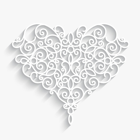 Swirly paper heart with shadow on white Ilustração