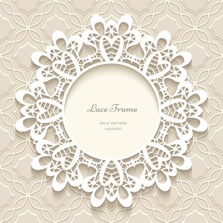 beige: Paper lace background, round vignette, ornamental lacy frame
