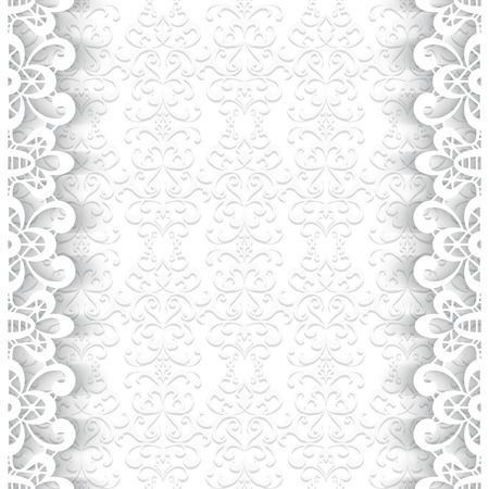 Paper lace background, ornamental frame with lacy seamless borders Vector