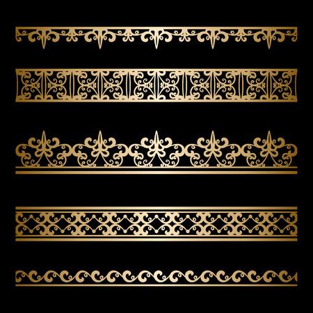 ビンテージ ゴールド罫線を黒に分離の装飾線のセット