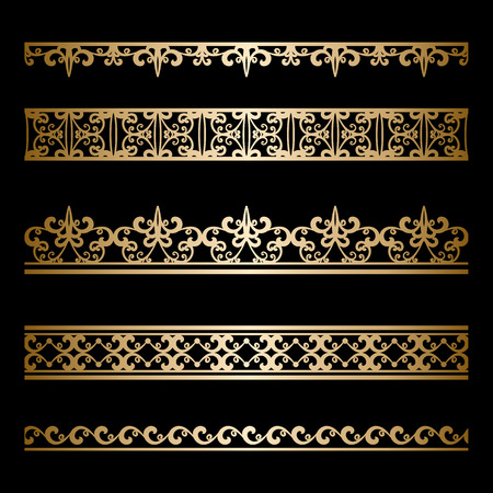 Set of vintage gold borders, ornamental lines isolated on black