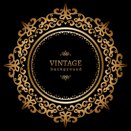 Vintage gold circle frame on black background