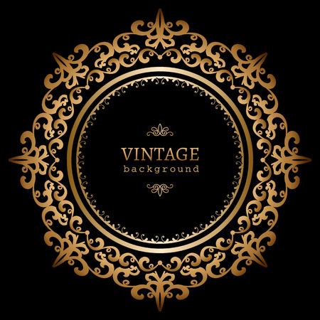 Vintage gold circle frame on black background