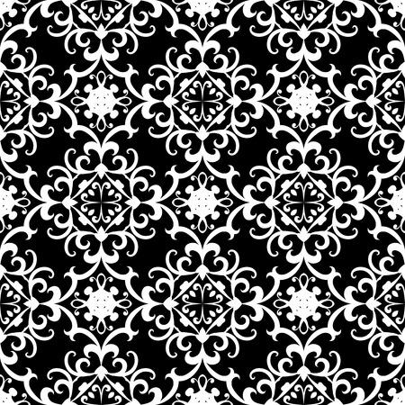 black swirls: Black and white swirly ornament, seamless pattern