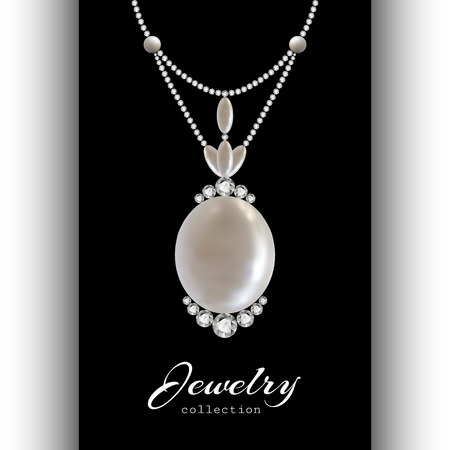 necklet: Elegant jewelry pendant with diamonds and pearls isolated on black