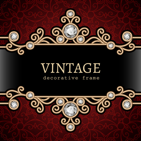 gold jewelry: Vintage gold jewelry frame on ornamental background