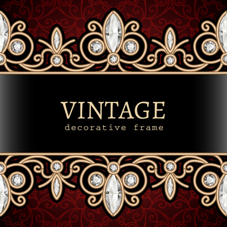 Vintage gold frame with jewelry borders, ornamental jewellery background Vector