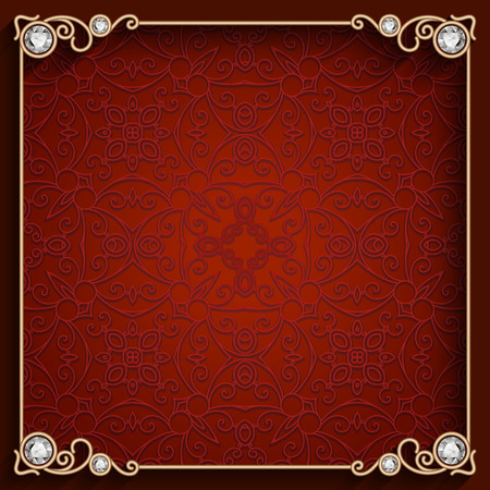 jewelry design: Vintage gold background, ornamental square jewelry frame Illustration