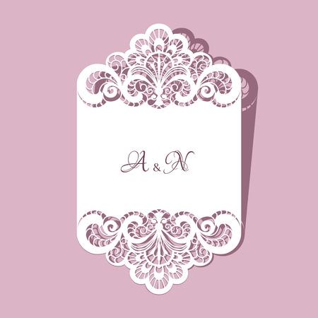 Elegante kant wenskaart, bruiloft of aankondiging sjabloon