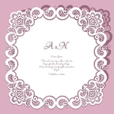 encaje: Marco cuadrado de papel de encaje, tapetito de encaje, tarjeta de felicitaci�n o plantilla de la invitaci�n de la boda Vectores