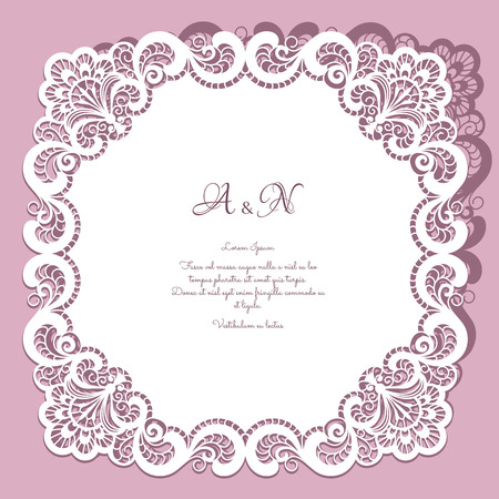 Square paper lace frame, lacy doily, greeting card or wedding invitation template 版權商用圖片 - 38663259