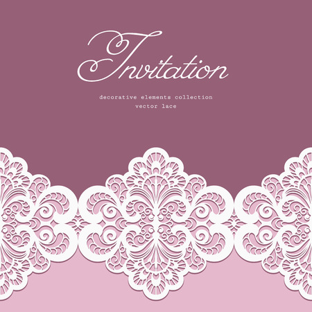 Elegant greeting card or wedding invitation template with lace border ornament Vector