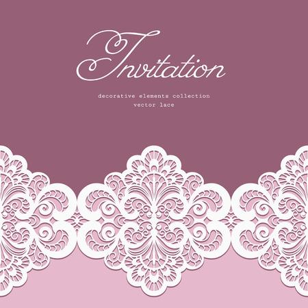 Elegante wenskaart of bruiloft uitnodiging sjabloon met kanten rand ornament Stock Illustratie