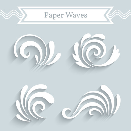 hurricane: Paper swirls, wave icons, set of decorative curly shapes