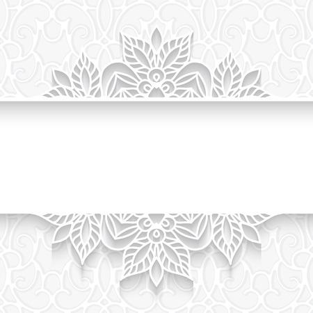 抽象的な用紙ディバイダー、レースの背景、白の模様の装飾用フレーム