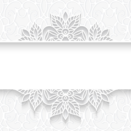 Abstract paper divider, lace background, ornamental frame on white pattern