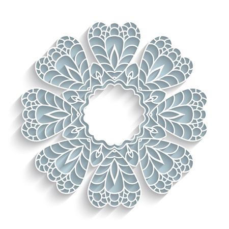 装飾用の縁取り、白い背景の上の影とレースの花と丸い紙レース フレーム