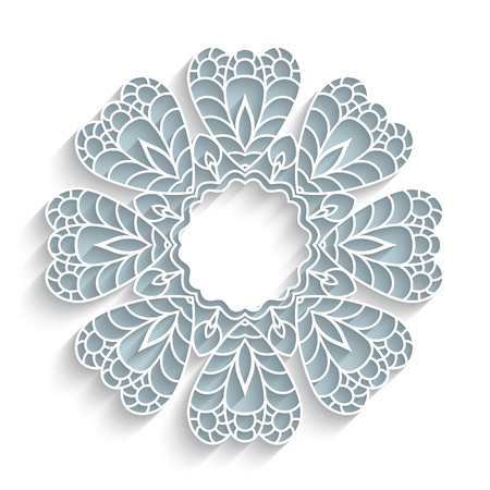 Round paper lace frame with ornamental border, lacy flower with shadow on white background