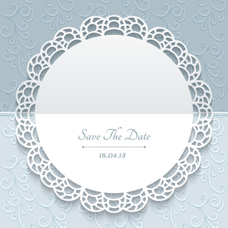 Greeting or save the date card, wedding invitation, lace doily, round paper frame with lacy border on ornamental background Ilustração