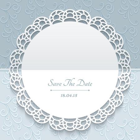 Groet of bewaart de datum kaart, trouwkaart, kantdoily, ronde papier frame met kanten grens op sierachtergrond