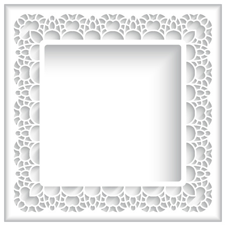 Square cutout paper lace frame on white background