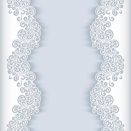 bordados: Fondo blanco con remolinos de papel recortado floral, tarjeta de felicitación o plantilla de la invitación de la boda