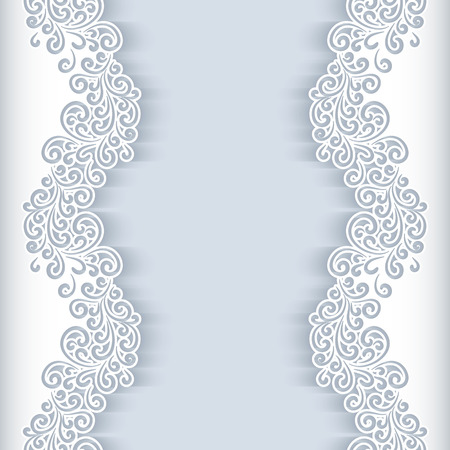 retro design: White background with floral cutout paper swirls, greeting card or wedding invitation template