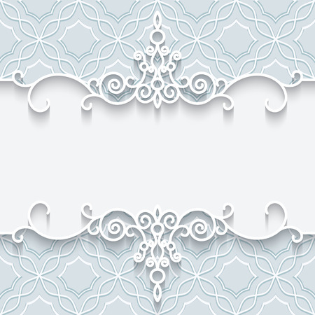vintage backgrounds: Abstract background with paper divider, header, ornamental frame Illustration
