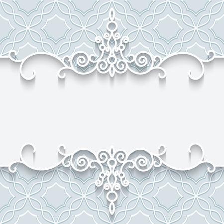 Abstract background with paper divider, header, ornamental frame Illustration