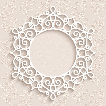 encaje: Fondo de encaje de papel, vi�eta redonda, marco de encaje ornamental