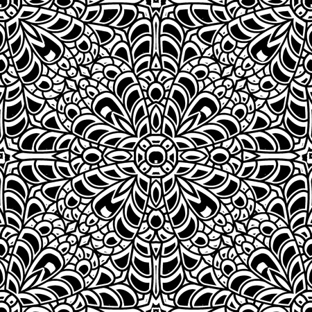 Abstract black and white ornament, lace texture, seamless pattern Vector