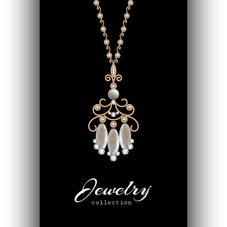 gold jewelry: Vintage gold jewelry pendant with diamonds and pearls, elegant jewellery isolated on black