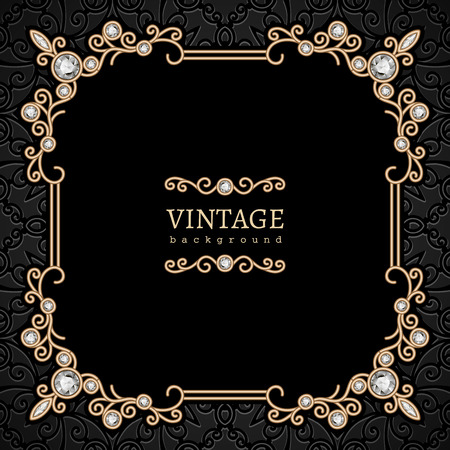 Vintage gouden achtergrond, vierkante sieraden frame op patroon Stock Illustratie