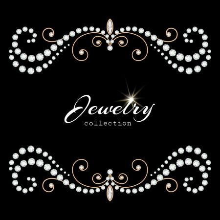 블랙, 우아한 보석 배경에 다이아몬드와 진주와 빈티지 골드 주얼리 프레임 일러스트