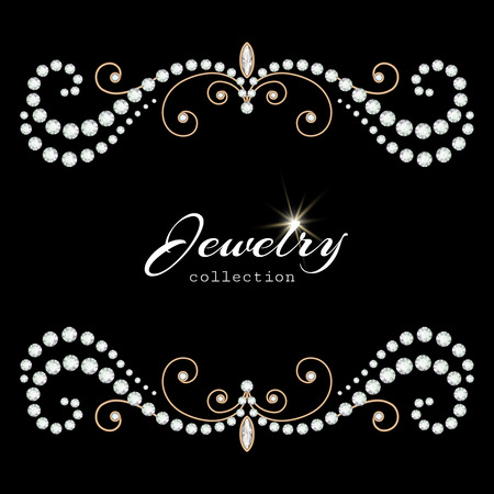 perlas: Marco de joyería de oro de la vendimia con los diamantes y las perlas en negro, elegante fondo de joyas Vectores