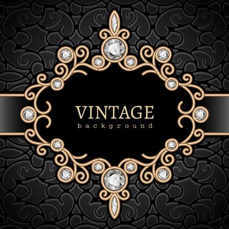 Fondo de oro de la vendimia, viñeta de diamantes, marco joyas swirly