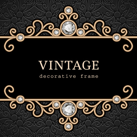 Vintage gold frame, elegant jewelry background Ilustracja