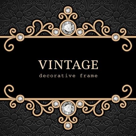 Vintage gold frame, elegant jewelry background Stock Illustratie