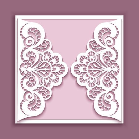우아한 레이스 인사말 카드, 광장 결혼식 초대 또는 발표 템플릿